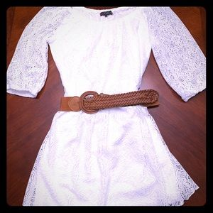 Ivory white lace dress with belt